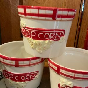 Popcorn Bowls Set 4 Red White #L1